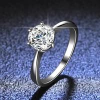 925 sterling silver ring mosans drill ring fashion woman1ct diamond ring diamond zhou family six claw d color mosan diamond