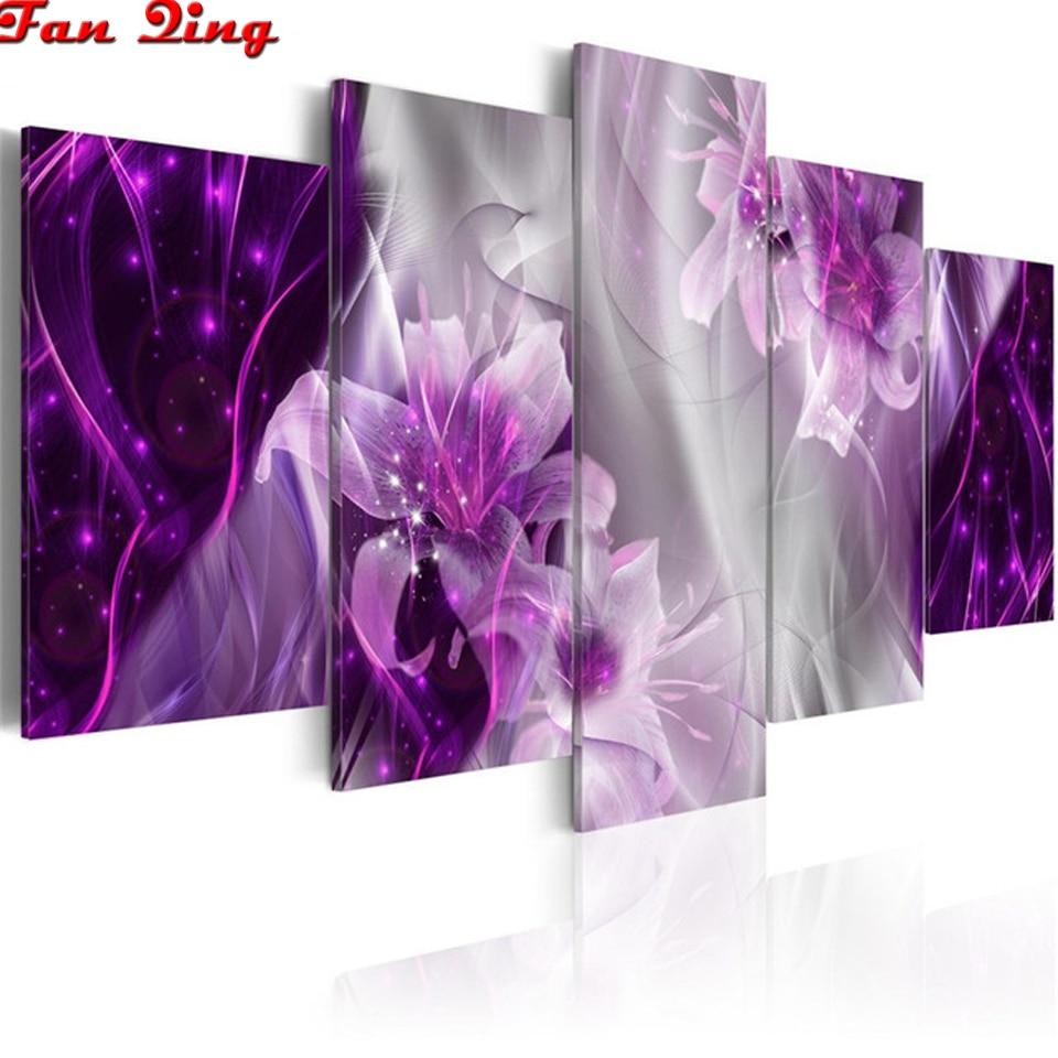 Flor arte da parede impressão diamante pintura moderna flor lírio roxo arte diamante bordado 5 painéis de diamante completo mosaico imagem