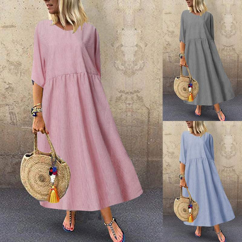 ZANZEA Casual Vestido largo de mujer de algodón de lino Maxi Vestidos de verano de media manga vestido de verano de rayas Vintage Vestidos de Camisa larga