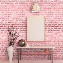 Papier peint 3D rose brique   Rouleau de papier peint auto-adhésif en PVC pour salon, chambre à coucher, dortoir, maison, filles