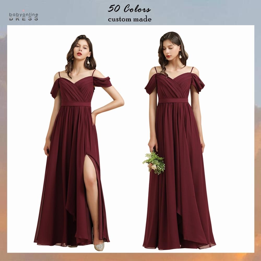 Babyonlinedress 50 Colors Off The Shoulder Bridesmaid Dresses Long Chiffon Wedding Party Dress robe de soirée de mariage недорого