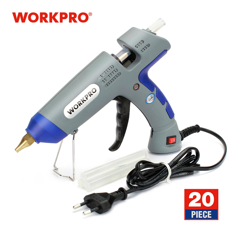WORKPRO Professional Glue Gun High Temp Heater Melt Hot Glue Gun With 20PC Premium Glue Sticks Mini
