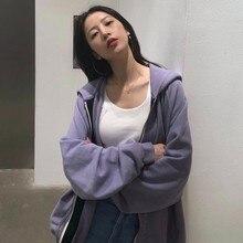 Zip Up Women Hoodie 2021 Spring Korean Long Sleeve Purple Sweetshirts Loose Casual Jacket Harajuku H