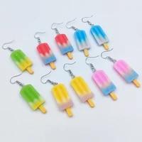funny rainbow ice cream drop earrings for women flatback resin unusual earrings birthday gift girls teens jewelry