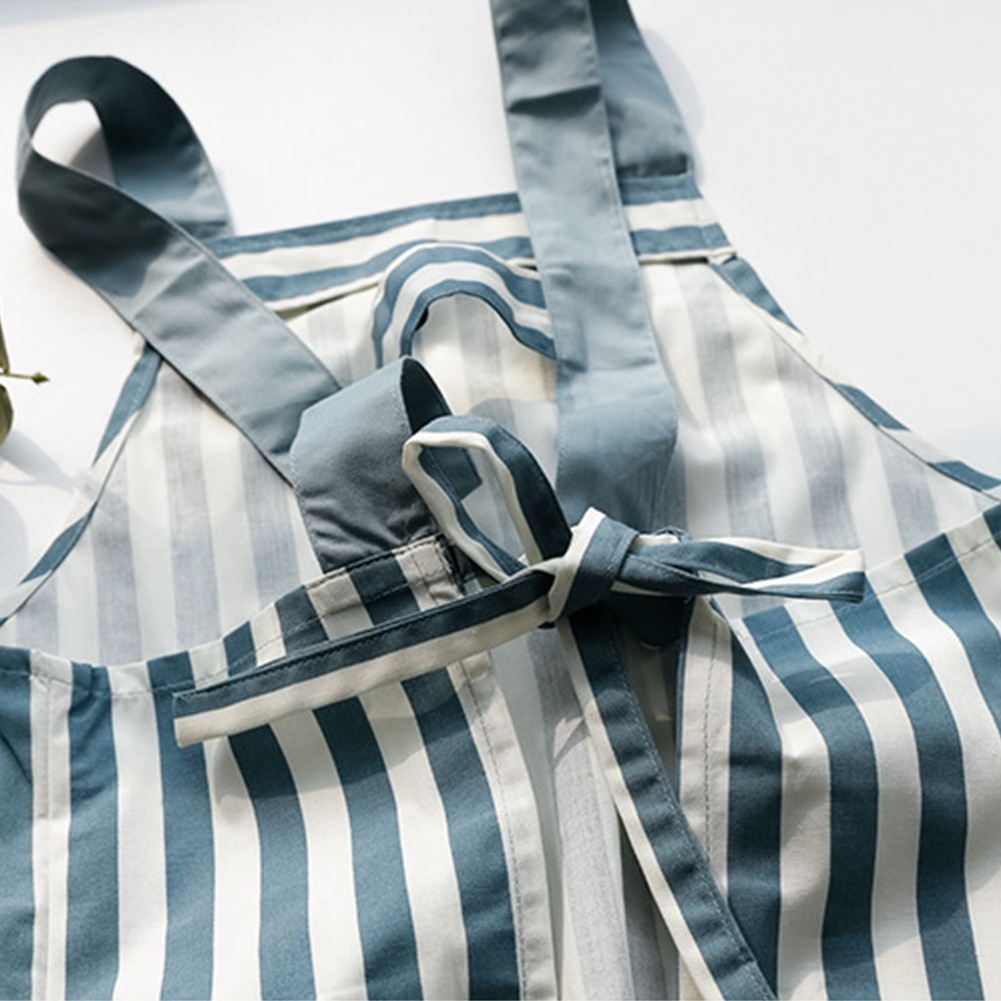1pc Kitchen Apron Fashion Stripe Wave Point Apron Women Girls Cotton Cotton Apron with 2 Pockets for Cooking Baking Gardening enlarge