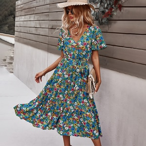 Summer Women Print Short Sleeve Dress Retro Floral High Waist V-neck Casual Loose Sexy Holiday Party Ladies Dress