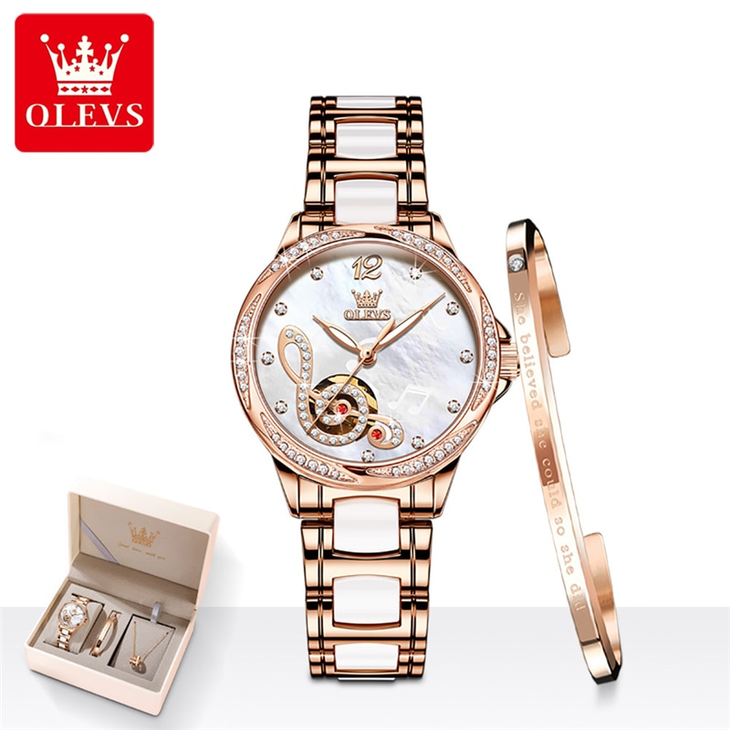 OLEVS Women Watches Top Brand Luxury Fashion Ladies Automatic Watch Rose Gold Stainless Steel Ceramics Mechanical Wristwatch
