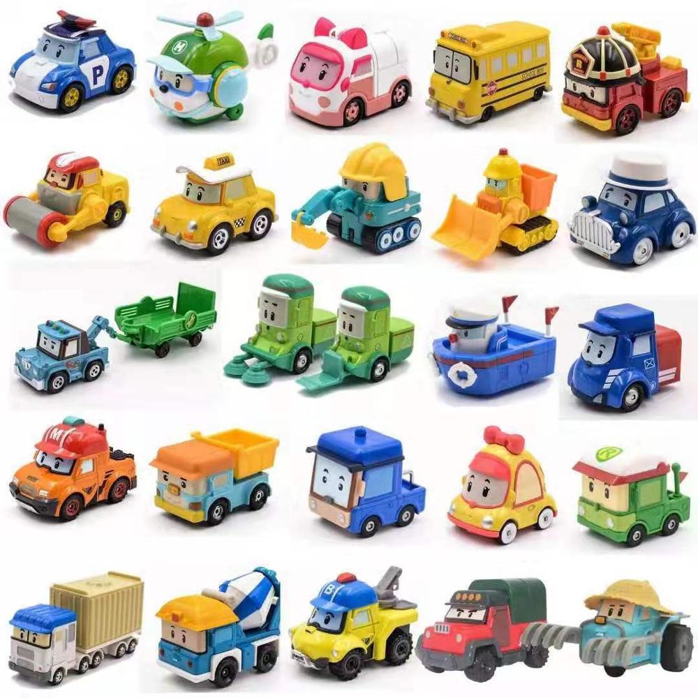 25 estilos Silverlit Robocar Corea niños juguetes Robot Poli Roy Hale Anime Metal acción figura auto de juguete de caricatura mejor regalo para los niños