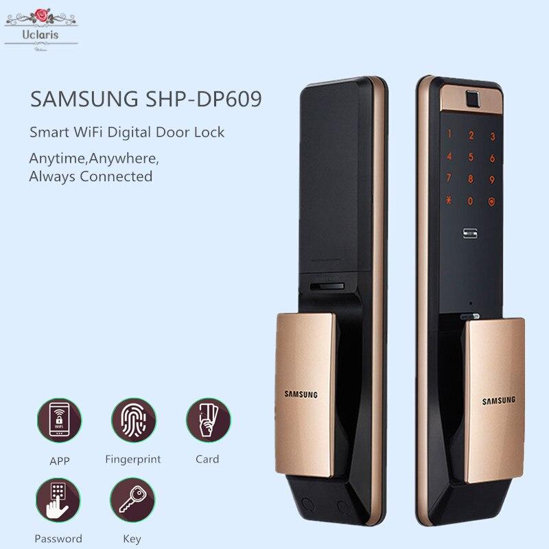 جديد سامسونج SHP-DP609 المنزل الذكي واي فاي قفل الباب الرقمي آمن بصمة أقفال Fechadura الرقمية Cerradura Inteligente
