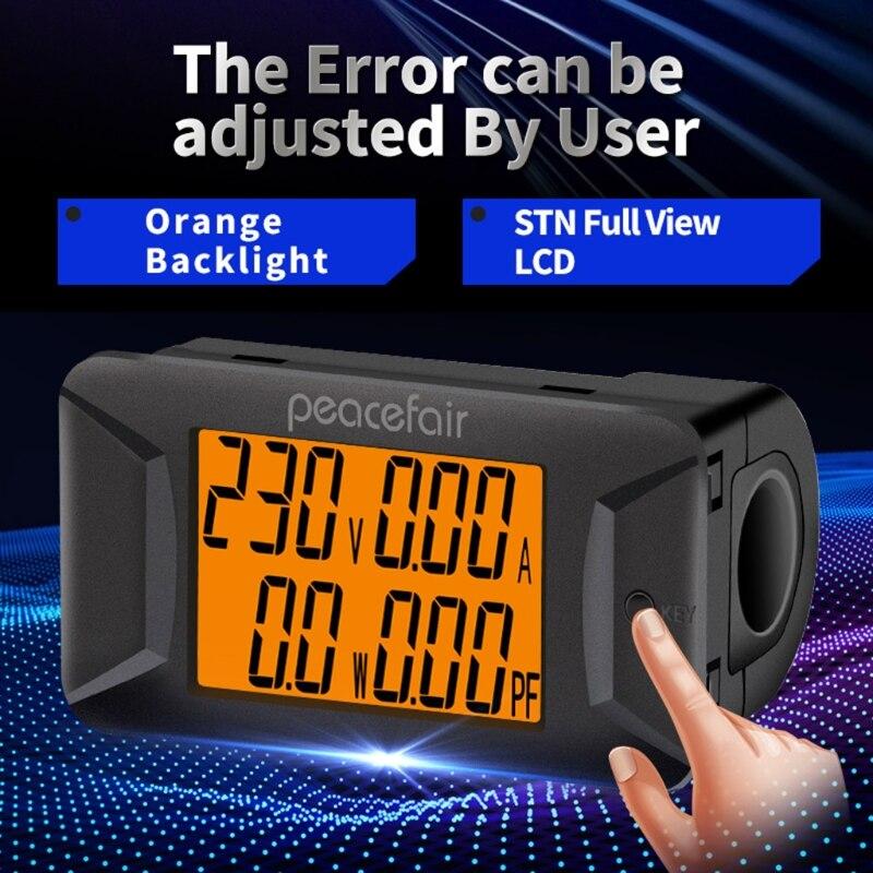Fator de Potência Tensão Atual Potência Energia Frequência Medidor Wattmeter Voltímetro Amperímetro 649a Pzem-028 40-400v 100a