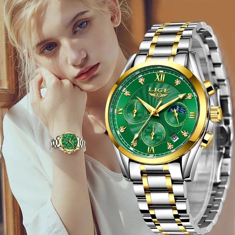 LIGE-ساعة كوارتز ذهبية للنساء ، ساعة يد نسائية ، ماركة فاخرة ، مع صندوق ، مجموعة جديدة 2020