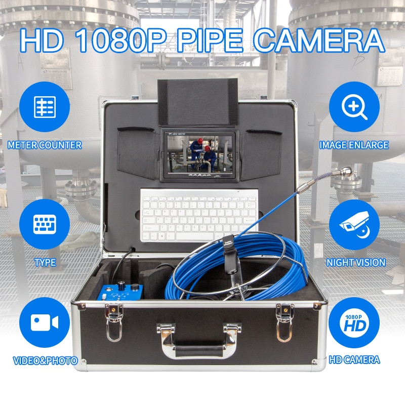 Review 25mm Lens 20/30/50M 9 Inch high-definition pipe endoscope camera DVR wireless remote control operation cable pipe inspection