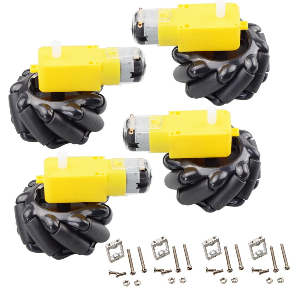 4pcs 60mm Mecanum Omni Wheel+ 4pcs TT Motor+ 4pcs TT Motor Bracket for Arduino DIY Project Raspberry Pi Stem Toy RC Parts a group of 4 60mm 14159 mecanum wheel omni wheel robot 60 mm aluminum wheels