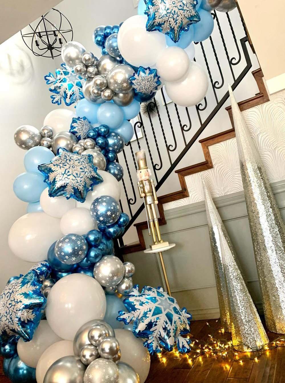 104 قطعة ندفة الثلج بالونات جارلاند قوس عدة الجليد ملكة الثلج بالون معدني لعيد ميلاد المجمدة استحمام الطفل حفل زفاف ديكور