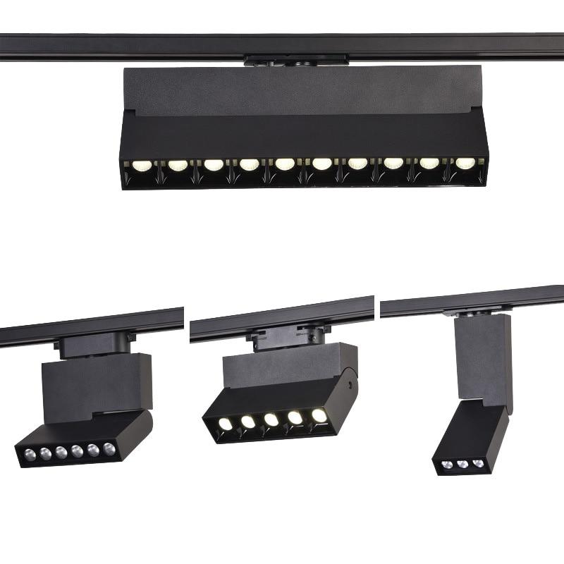 عكس الضوء 6 واط 10 واط 12 واط 20 واط LED الأضواء LED المسار السكك الحديدية ضوء راحة مصابيح السقف أبيض أسود الجسم متجر مخازن إضاءة داخلية