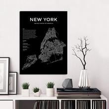 Affiche de carte du monde de New York   Affiche de New York, affiche de la ville du monde en noir et blanc, toile dart murale nordique
