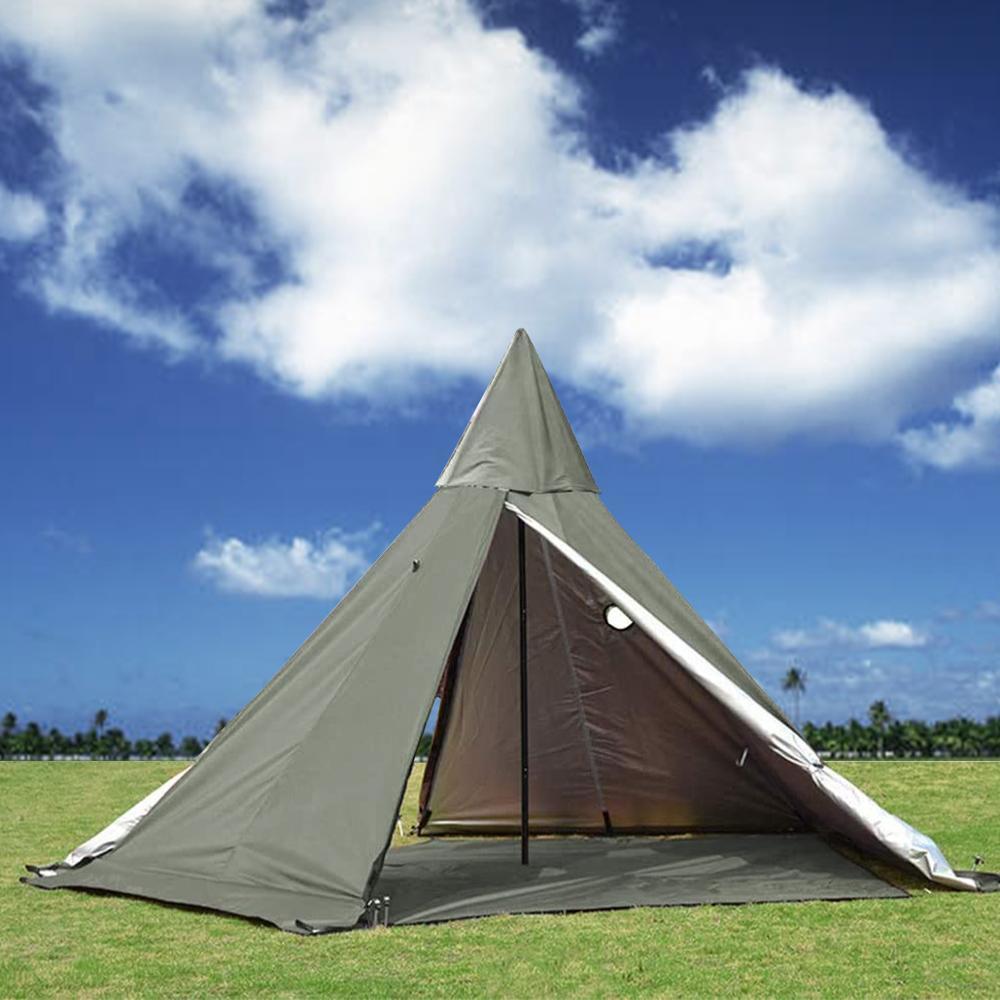 300D أكسفورد الجيش الأخضر 2 أبواب الخيام 3-4 الناس مقاوم للماء خيمة مصنوعة من الجلد مخروطية الشكل مع موقد جاك للتخييم التنزه الصيد مع شبكة كاملة