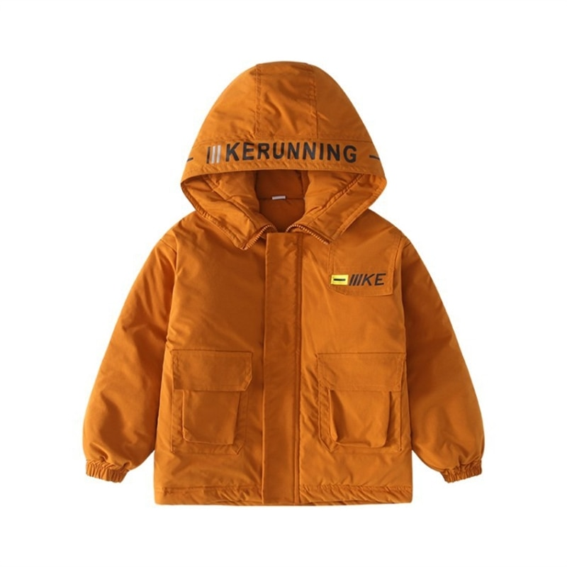 Children's clothing boys' fleece-lined jacket middle and older children's autumn and winter clothing cotton trench coat jacket enlarge