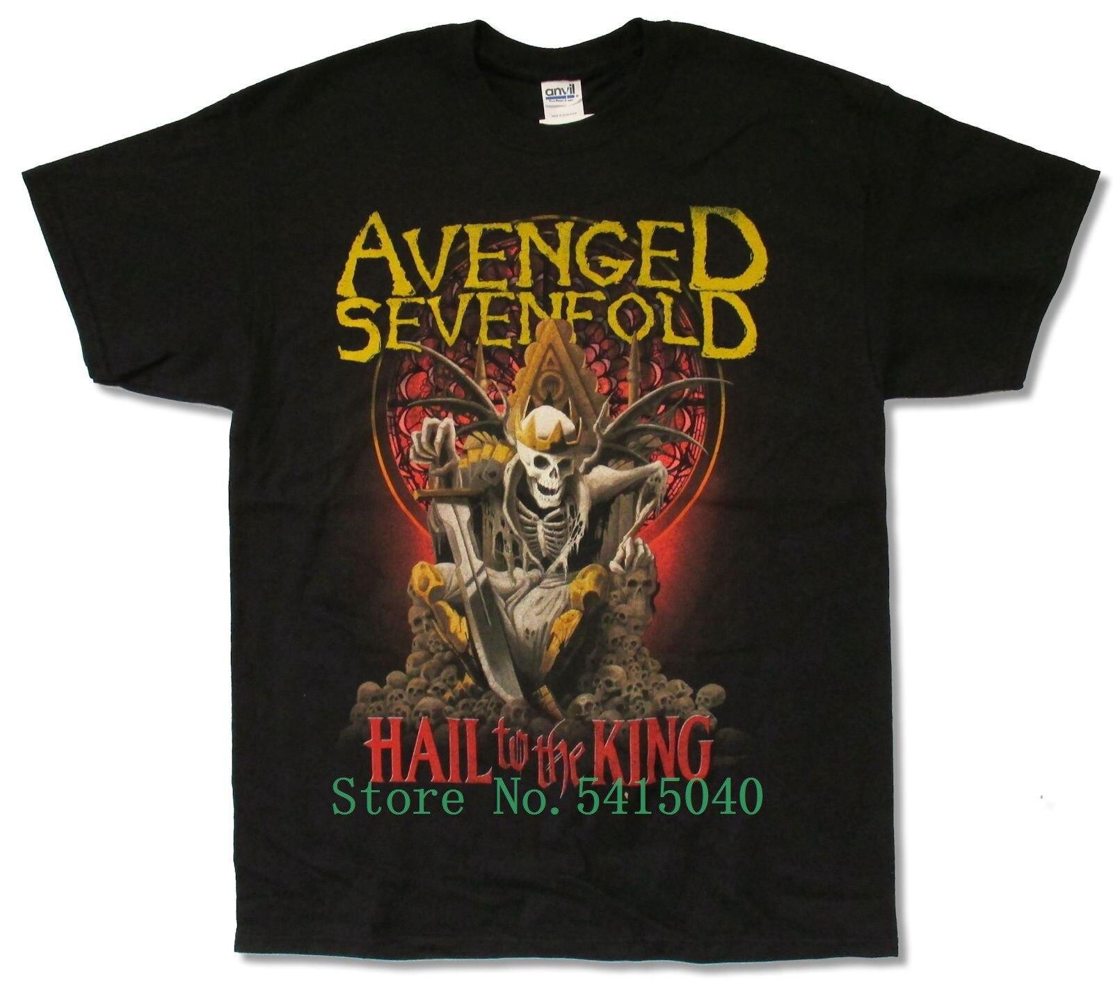 Avenged Sevenfold New Day Rises Tour 2014 Black Shirt New Official A7x Hail King Print T Shirt Men Brand Letter Clothing