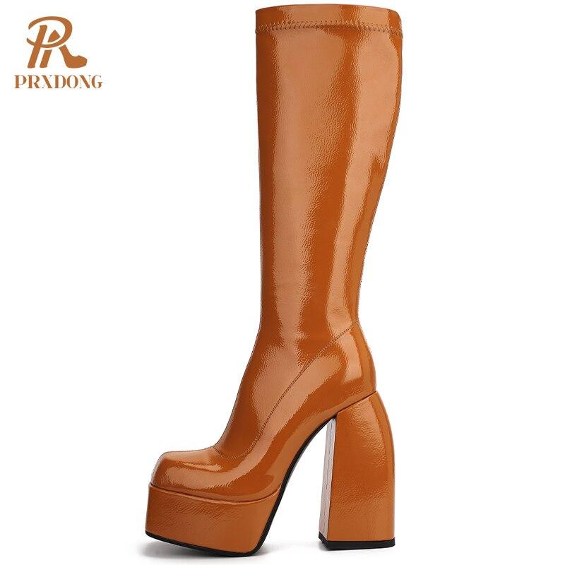 فاسق نمط الخريف الشتاء الدافئة مرونة الأحذية حذاء امرأة حذاء من الجلد مثير عالية الكعب الأسود البني سميكة منصة حذاء برقبة للركبة