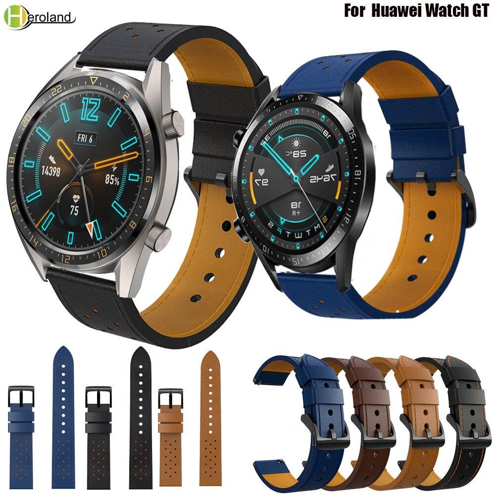 AliExpress - 22mm Leather Strap Watchband Wristband For Huawei Watch GT1 GT 2 46mm Smart Wriststrap Bracelet For Huawei Watch 2 pro strap