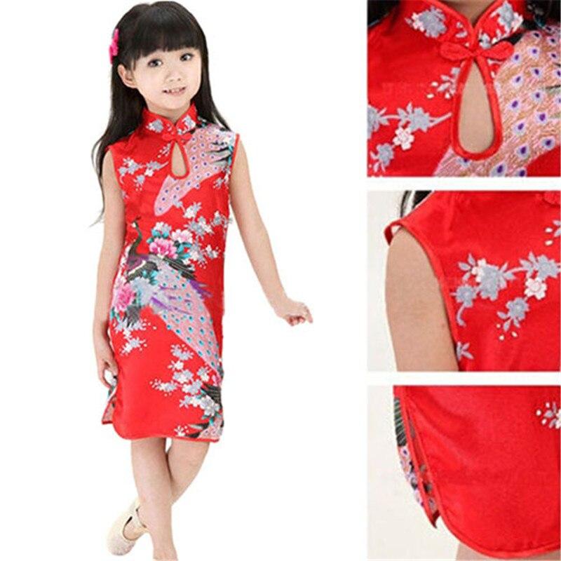 Vestido de verano sin mangas con solapa de pavo real Floral Cheongsam chino para niñas de moda de gran oferta 2019