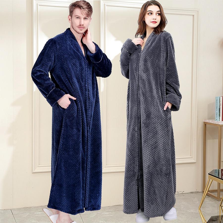 Мужской зимний теплый халат размера плюс из кораллового флиса, удобный фланелевый банный халат на молнии с капюшоном, ночной халат, женская одежда для сна