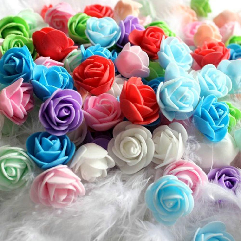 2021 500Pcs 3cm PE Foam Rose Head Artificial Flower for DIY Bear Doll Cake Model Wedding Home Decor Gifts Box Artificial Flowers недорого