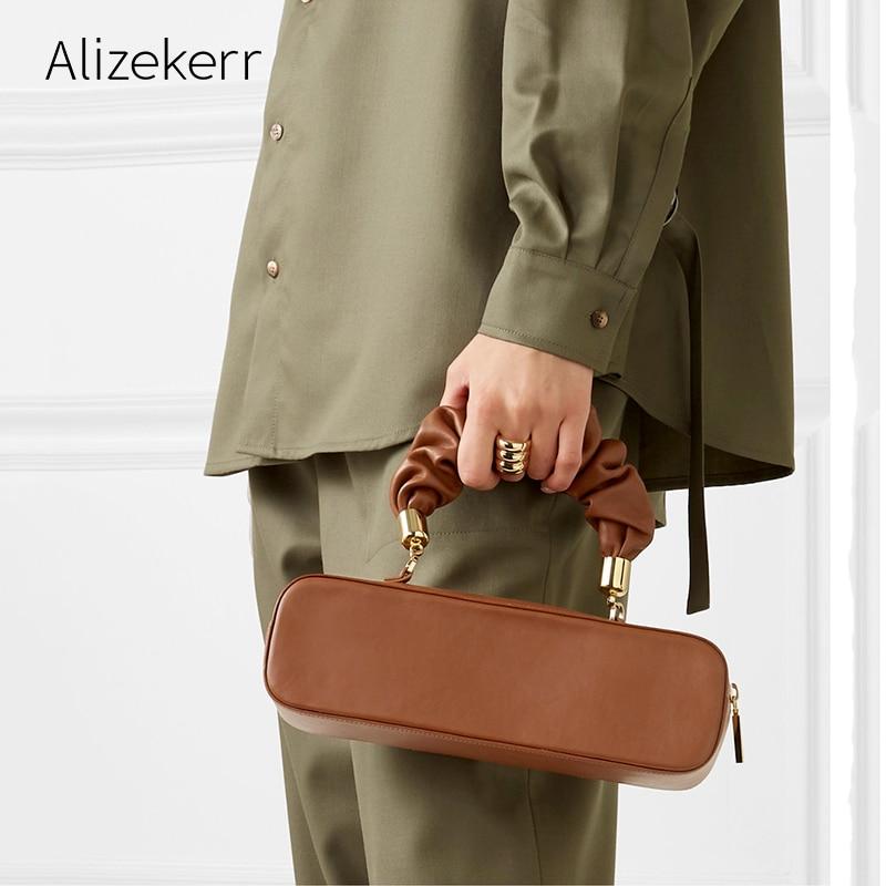 Long Folds Handbag Women New Elegant Green Top Handle Tote Shoulder Bag Purse Female Simple Designer Famous Brand Women Bag 2019