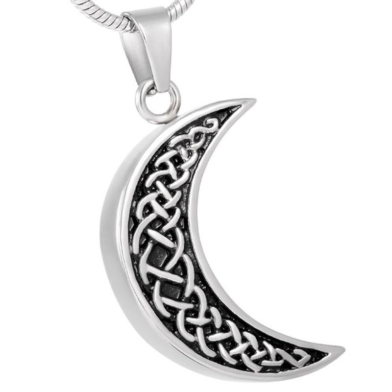 Ldj8226 grabado personalizado joyería de cremación de acero inoxidable forma de luna cenizas humanas titular recuerdo
