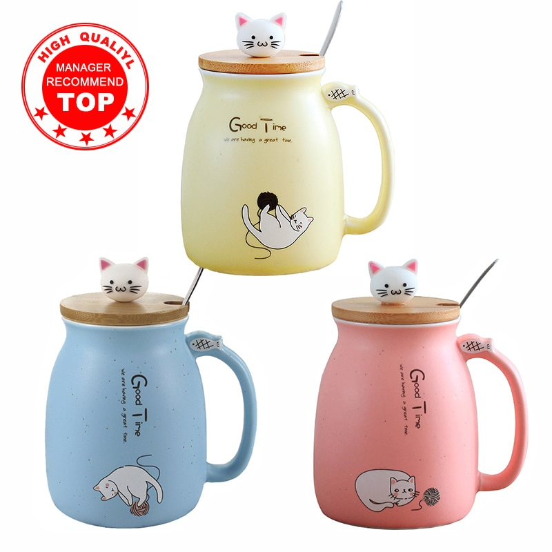 الإبداعية اللون القط مقاومة للحرارة القدح الكرتون مع غطاء 450 مللي كوب هريرة القهوة السيراميك أكواب الأطفال كوب مكتب درينكوير هدية