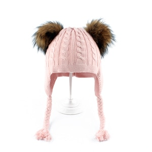 1-5 years Baby Winter Hat Double Fur Pom pom Hats For Kids Twist Knitted Wool Hat Bonnet Boys Girls Beanie Cap With Ears