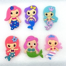 6pcs/lot Cute mermaid rubber cartoon flatback DIY hair bow accessories shower decoration Center Crafts