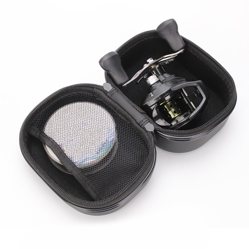LEO bolsa de carretes de pesca funda protectora Spinning/balsa/mosca bolsa de la rueda de pesca con correa de mano, bolsa de malla de diseño negro