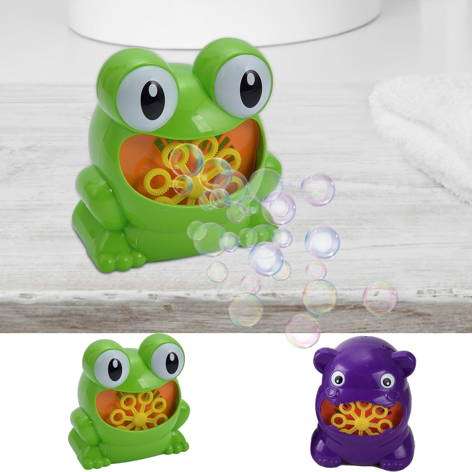 Cute Bubble BlowerMaker Fun Frog Hippo Bath Toy Bubbler Outdoor Toys For ChildrenToddlers Birthday Party Gift  - buy with discount