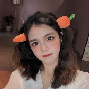 Korean Cute Cartoon Headbands for Women Carrot Fish Through The Head Head Bands Girl Funny Hair Accessories