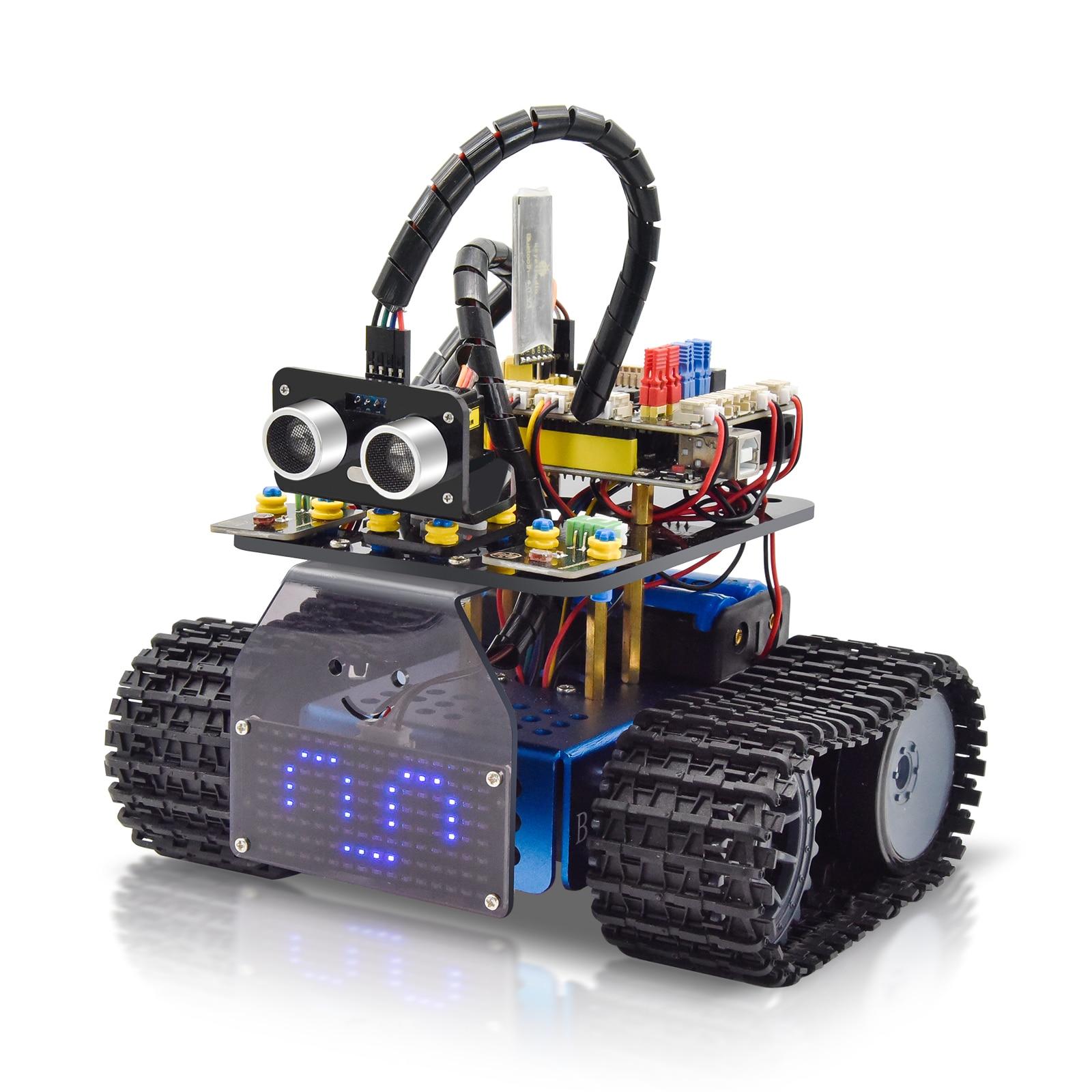 New Keyestudio Mini Smart Tank Robot V3.0 Kit  For Arduino Robot Car DIY Programmable STEM Toys Compatible With Arduino&Mixly