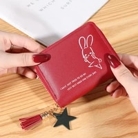 new ladies wallet short trendy money bags letter bunny printing handbags zipper leather coin purse for women carteras para mujer