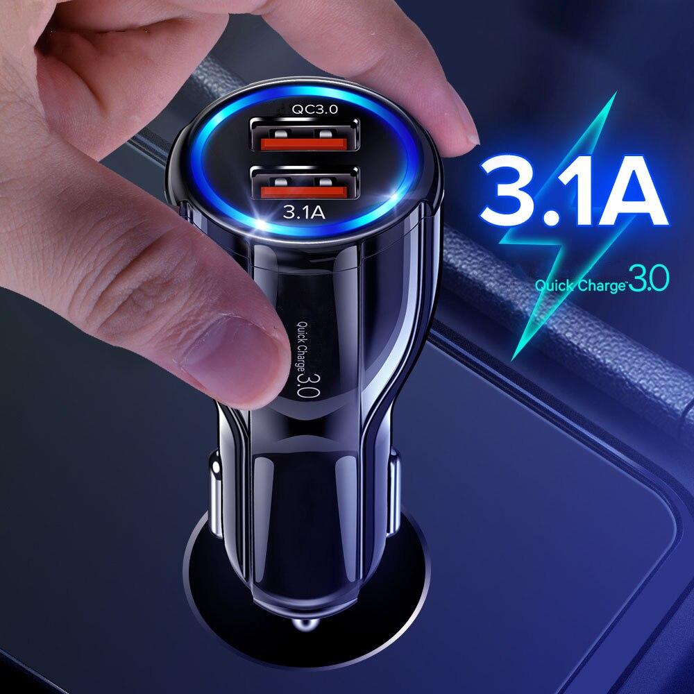 Cargador de coche de carga rápida 3,0 QC 3,0 adaptador de carga rápida Dual USB cargador de coche para iphone Micro USB tipo C Cable cargadores de teléfono