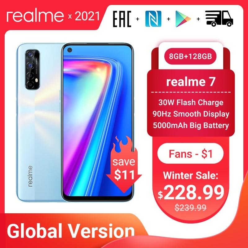 هاتف الألعاب الذكي Realme 7 الإصدار العالمي ذاكرة وصول عشوائي 8 جيجابايت وذاكرة قراءة فقط 128 جيجابايت وذاكرة قراءة فقط 30 واط مع شحن سريع وكاميرا ر...