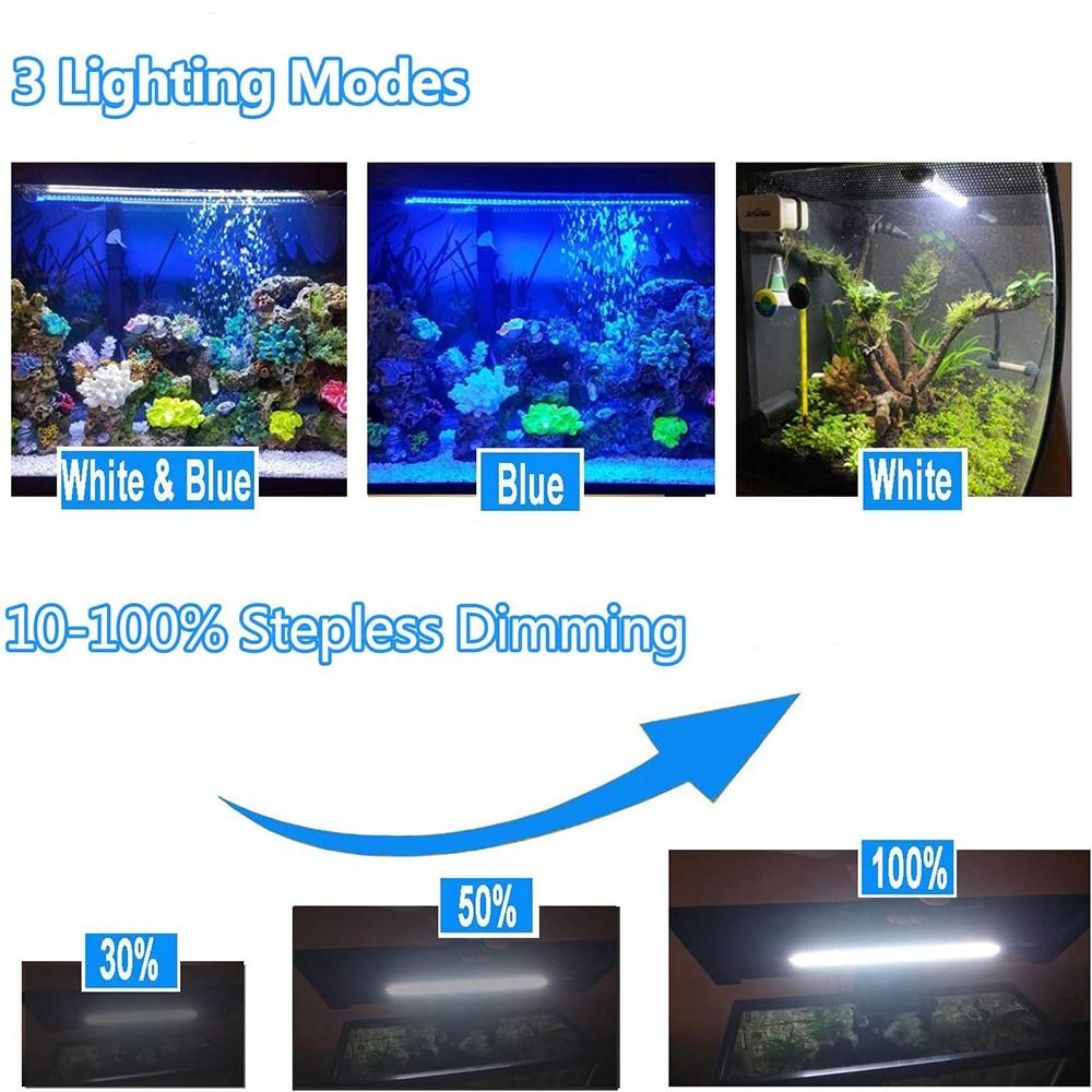 Submersible LED Aquarium Light Waterproof Bar Fish Tank Light Aquatic Plants Grow Light Underwater Timer Auto On/Off Lamp D30