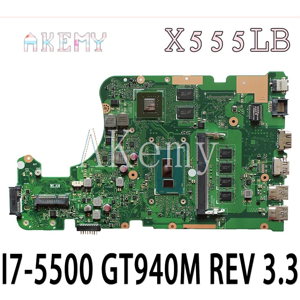 EDP X555LB mianboard X555LD REV 3,3 para For Asus X555LJ X555LF X555LB X555LP placa base de computadora portátil cpu 4GB-RAM I7-5500 GT940M/2GB