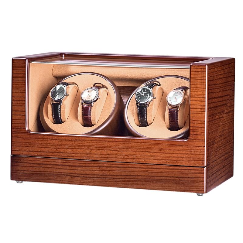 Modos de Relógio Dobadoura com Motores Modos de Trabalho 4 + 0 tipo 5 Silenciosos Ebony Fraxinus Mandshurica Madeira Marrom Veludo Aaa Qualidade 5