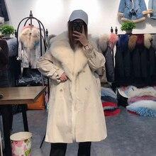 Réel manteau de fourrure de renard femmes hiver vraie fourrure doublure parka long style coupe-vent surdimensionné 2019 nouvelle mode vêtements de luxe
