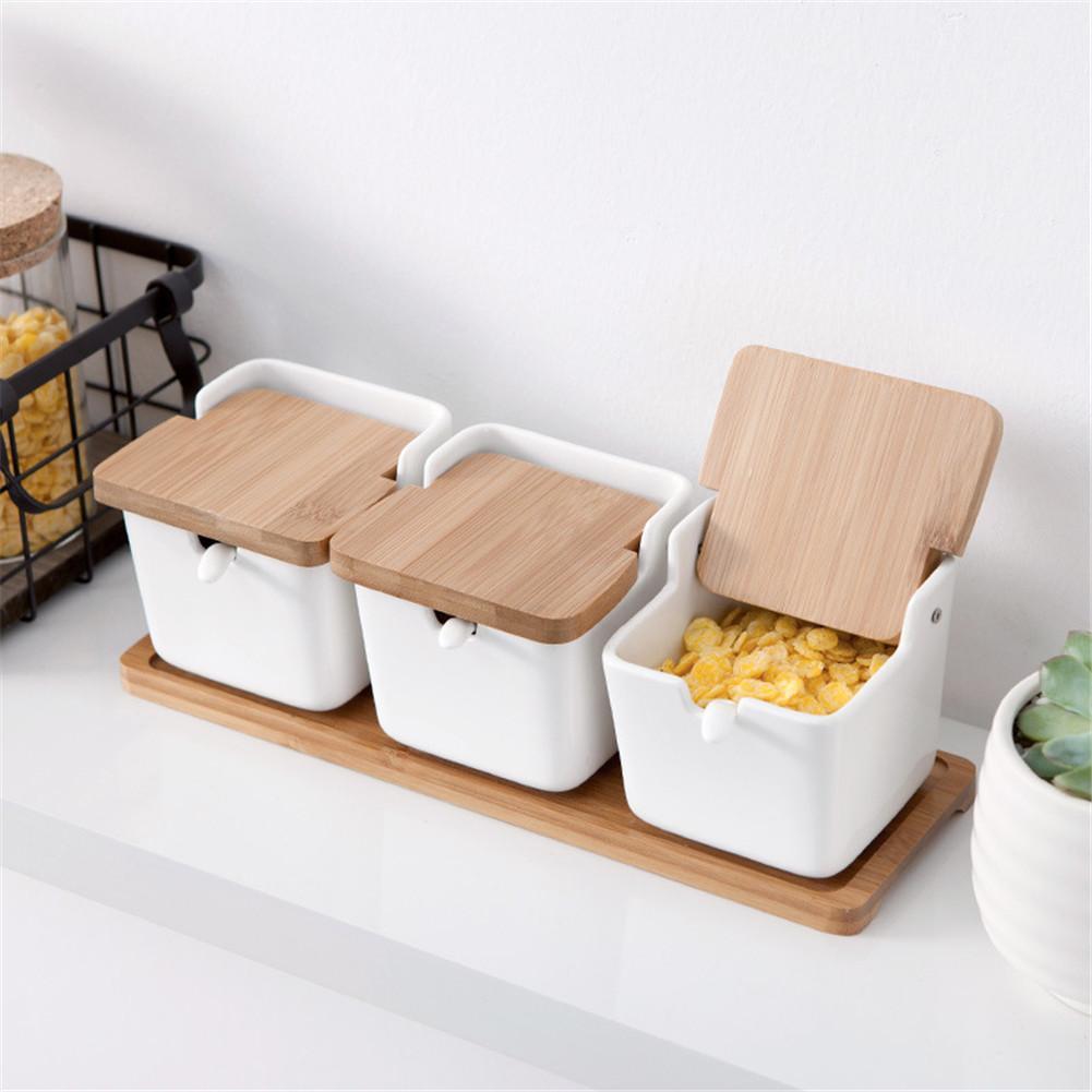 Japanese Sugar Bowl With Lid Condiment Jar Container Ceramic Sugar Salt Spice Box Kitchen Seasoning Storage Box Rack