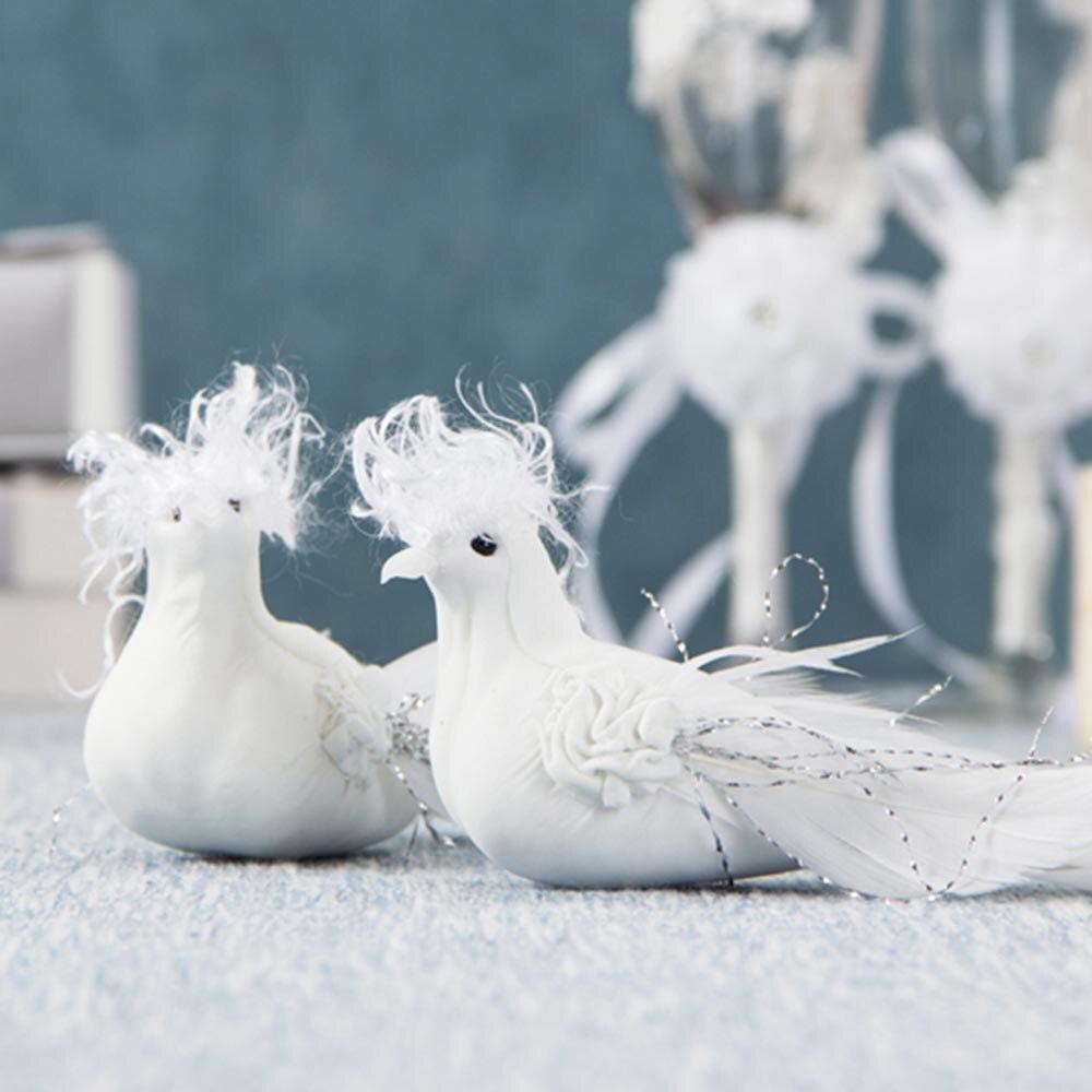 2 uds. De palomas artificiales bonitas decorativas, plumas blancas, minipájaros blancos, novias, novio, San Valentín, bodas, fiestas, suministros