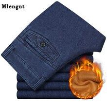 Büyük boy klasik iş kot erkekler için sonbahar kış erkek rahat yüksek kaliteli kalın polar sıcak elastik Denim pantolon 30-42 CF229