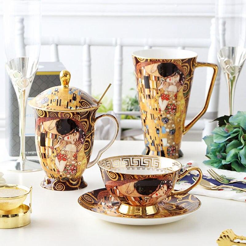 Klimt قبلة البورسلين أكواب القهوة مع ملعقة غوستاف كليمت العظام الصين الزفاف هدايا عيد مكتب درينكوير ديكور المنزل