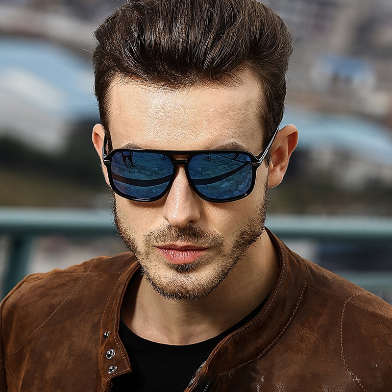 2020 Fashion Men Cool Square Style Gradient Polarized Sunglasses Driving Vintage Brand Design Cheap