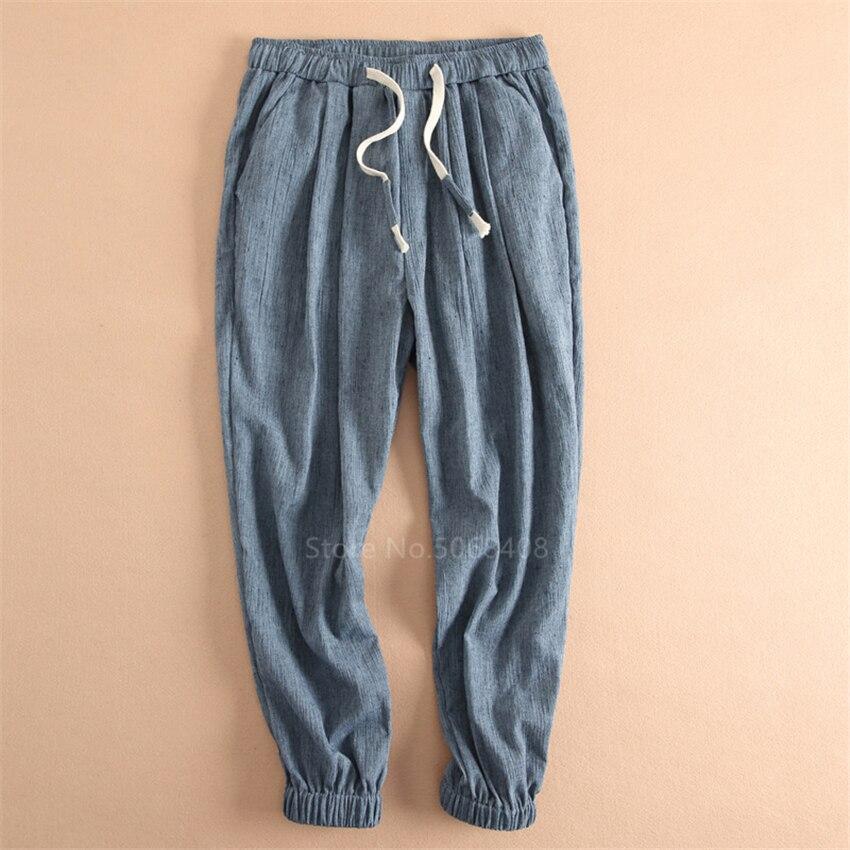 Mallas orientales para hombre, pantalones de algodón de talla grande estilo chino, pantalones de lino para hombre, pantalones Harem de cintura elástica japoneses de verano para hombre, Kung Fu